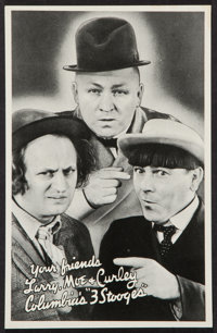 """Three Stooges Promotional Giveaway (Columbia, 1936). Promotional Giveaway (5' X 7.5""""). Comedy"""