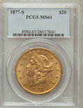 Liberty Double Eagles: , 1877-S $20 MS61 PCGS PCGS Population (426/282). NGC Census:(669/171). Mintage: 1,735,000. Numismedia Wsl. Price for proble...