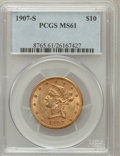 Liberty Eagles: , 1907-S $10 MS61 PCGS PCGS Population (32/70). Mintage: 210,500.Numismedia Wsl. Price for problem free N...