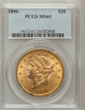 Liberty Double Eagles: , 1890 $20 MS61 PCGS PCGS Population (185/225). NGC Census:(190/219). Mintage: 75,995. Numismedia Wsl. Price for problemfre...