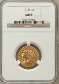 Indian Half Eagles: , 1916-S $5 AU58 NGC NGC Census: (573/908). PCGS Population(205/768). Mintage: 240,000. Numismedia Wsl. Price for problemfr...