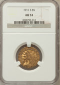 Indian Half Eagles: , 1911-S $5 AU53 NGC. NGC Census: (135/2183). PCGS Population(101/1362). Mintage: 1,416,000. Numismedia Wsl. Price for probl...