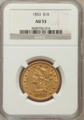 Liberty Eagles: , 1853 $10 AU53 NGC NGC Census: (90/356). PCGS Population (47/90).Mintage: 201,253. Numismedia Wsl. Price for problem free N...