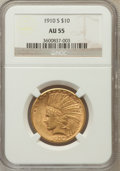 Indian Eagles: , 1910-S $10 AU55 NGC. NGC Census: (170/1032). PCGS Population(243/941). Mintage: 811,000. Numismedia Wsl. Price for problem...