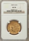 Indian Eagles: , 1909-S $10 AU50 NGC NGC Census: (23/620). PCGS Population (38/594).Mintage: 292,350. Numismedia Wsl. Price for problem fre...