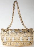 Luxury Accessories:Bags, Heritage Vintage: Chanel Gold and Silver Metallic Monogram Flap Bagwith Silver Chain. ...