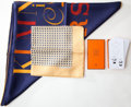 Luxury Accessories:Accessories, Heritage Vintage: Set of Three- Hermes A.M. Cassandre Silk Scarf,Hermes Ostrich Silk Pocket Square Scarf, Hermes Scarf 'Knott...