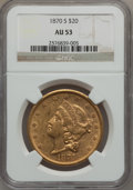 Liberty Double Eagles, 1870-S $20 AU53 NGC....