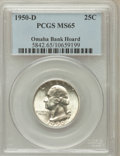 Washington Quarters: , 1950-D 25C MS65 PCGS. Ex: Omaha Bank Hoard. PCGS Population(880/509). NGC Census: (367/683). Mintage: 21,075,600. Numismed...