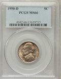 Jefferson Nickels: , 1950-D 5C MS66 PCGS. PCGS Population (974/11). NGC Census:(1265/211). Mintage: 2,630,030. Numismedia Wsl. Price for proble...