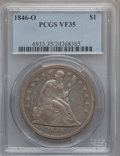 Seated Dollars: , 1846-O $1 VF35 PCGS. PCGS Population (27/175). NGC Census: (3/129).Mintage: 59,000. Numismedia Wsl. Price for problem free...