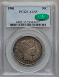 Barber Half Dollars: , 1901 50C AU55 PCGS. CAC. PCGS Population (43/188). NGC Census:(18/177). Mintage: 4,268,813. Numismedia Wsl. Price for prob...