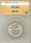 Commemorative Silver: , 1936 50C Wisconsin MS66 ANACS NGC Census: (1225/375). PCGSPopulation (1505/432). Mintage: 25,015. Numismedia Wsl. Price fo...