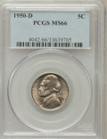 Jefferson Nickels: , 1950-D 5C MS66 PCGS. PCGS Population (974/11). NGC Census:(1281/211). Mintage: 2,630,030. Numismedia Wsl. Price for proble...