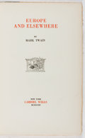 Books:Travels & Voyages, Mark Twain. Europe and Elsewhere. Gabriel Wells, 1923. Volume XXIX from the definitive edition. Toning. Spine su...