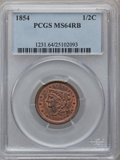 Half Cents: , 1854 1/2 C MS64 Red and Brown PCGS. PCGS Population (55/12). NGCCensus: (44/22). Mintage: 55,358. Numismedia Wsl. Price fo...