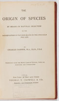 Books:Natural History Books & Prints, Charles Darwin. The Origin of Species. Crowell, [n. d., ca. 1930]. Later edition. Bookplate. Ex-library with typ...