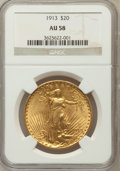 Saint-Gaudens Double Eagles: , 1913 $20 AU58 NGC NGC Census: (234/2274). PCGS Population(327/2163). Mintage: 168,700. Numismedia Wsl. Price for problemf...