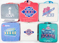 Autographs:Baseballs, 1985-2012 Super Bowl Seat Cushions Lot of 6....