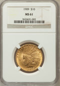 Indian Eagles: , 1909 $10 MS61 NGC NGC Census: (571/729). PCGS Population (227/887).Mintage: 184,700. Numismedia Wsl. Price for problem fre...
