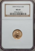 Modern Bullion Coins, 2004 G$5 Tenth-Ounce Gold Eagle MS69 NGC. NGC Census: (6333/3697).PCGS Population (7026/240). Numismedia Wsl. Price for p...