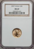 Modern Bullion Coins, 2007 $5 Tenth-Ounce Gold Eagle MS69 NGC. PCGS Population (248/24).Numismedia Wsl. Price for problem fr...