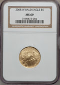 Modern Issues, 2008-W G$5 Bald Eagle MS69 NGC. NGC Census: (117/892). PCGSPopulation (522/473). Numismedia Wsl. Price for problem free N...