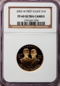 Modern Issues: , 2003-W G$10 First Flight Gold Eagle PR69 Ultra Cameo NGC. NGCCensus: (972/501). PCGS Population (1524/95). Numismedia Wsl...