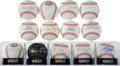 Baseball Collectibles:Balls, New York Yankees Single Signed Baseballs Lot of 13....