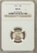 Barber Dimes: , 1911 10C MS63 NGC NGC Census: (170/416). PCGS Population (209/479).Mintage: 18,870,544. Numismedia Wsl. Price for problem ...