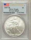 Modern Bullion Coins, 2007-W $1 Silver Eagle First Strike MS69 PCGS. PCGS Population(24651/3683). NGC Census: (56488/14078). (#150446)...