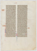 Books:Prints & Leaves, Ca. 14th-Century French Manuscript Bible Leafs on Vellum. Approx.9.25 x 6.75 inches. 2 leaves, bifolium. Faint guide-lines and ...