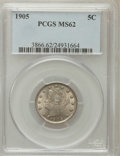 Liberty Nickels: , 1905 5C MS62 PCGS PCGS Population (78/935). NGC Census: (83/628).Mintage: 29,827,276. Numismedia Wsl. Price for problem fr...