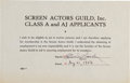 Music Memorabilia:Autographs and Signed Items, Elvis Presley's Signed Application for Membership in the ScreenActors Guild (1956)....