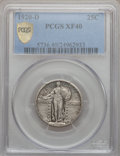 Standing Liberty Quarters: , 1920-D 25C XF40 PCGS. Secure. PCGS Population (12/351). NGC Census:(6/187). Mintage: 3,586,400. Numismedia Wsl. Price for...