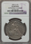 Seated Dollars: , 1859-O $1 -- Improperly Cleaned -- NGC Details. XF. NGC Census:(17/447). PCGS Population (40/649). Mintage: 360,000. Numis...