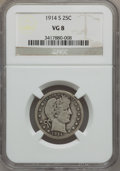 Barber Quarters: , 1914-S 25C VG8 NGC. NGC Census: (32/101). PCGS Population (75/277).Mintage: 264,000. Numismedia Wsl. Price for problem fre...