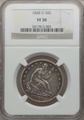 Seated Half Dollars: , 1848-O 50C VF30 NGC. NGC Census: (3/74). PCGS Population (4/81).Mintage: 3,180,000. Numismedia Wsl. Price for problem fre...