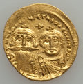 Ancients:Byzantine, Ancients: Heraclius, with Heraclius Constantine (AD 610-641). AVsolidus (4.49 gm)....