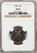 Proof Barber Quarters: , 1906 25C PR64 NGC. NGC Census: (43/117). PCGS Population (45/78). Mintage: 675. Numismedia Wsl. Price for problem free NGC/...