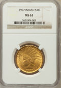 Indian Eagles: , 1907 $10 No Periods MS63 NGC. NGC Census: (799/1315). PCGSPopulation (1091/963). Mintage: 239,400. Numismedia Wsl. Price f...