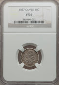 Bust Dimes, 1837 10C Capped VF35 NGC. NGC Census: (3/122). PCGS Population(10/122). Mintage: 359,500. Numismedia Wsl. Price for proble...
