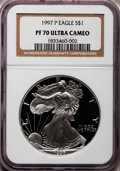 Modern Bullion Coins: , 1997-P $1 Silver Eagle PR70 Ultra Cameo NGC. NGC Census: (9295).PCGS Population (381). Numismedia Wsl. Price for problem ...