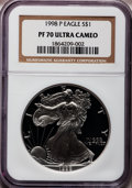 Modern Bullion Coins: , 1998-P $1 Silver Eagle PR70 Ultra Cameo NGC. NGC Census: (1011).PCGS Population (650). Numismedia Wsl. Price for problem ...