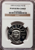 Modern Bullion Coins: , 1999-W P$100 One-Ounce Platinum Eagle PR69 Ultra Cameo NGC. NGCCensus: (796/311). PCGS Population (1219/70). Mintage: 12,3...
