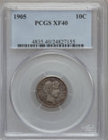 Barber Dimes: , 1905 10C XF40 PCGS. PCGS Population (5/211). NGC Census: (0/158).Mintage: 14,552,350. Numismedia Wsl. Price for problem fr...