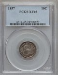 Seated Dimes: , 1857 10C XF45 PCGS. PCGS Population (15/219). NGC Census: (6/265).Mintage: 5,580,000. Numismedia Wsl. Price for problem fr...