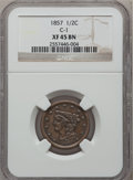 Half Cents: , 1857 1/2 C XF45 NGC. C-1. NGC Census: (6/357). PCGS Population(23/294). Mintage: 35,180. Numismedia Wsl. Price for proble...