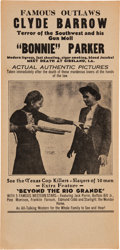 Entertainment Collectibles:Theatre, Bonnie & Clyde: Their Grisly Death in the Theaters. ...