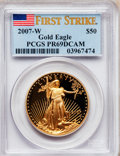 Modern Bullion Coins, 2007-W $50 One-Ounce American Gold Eagle PR69 Deep Cameo PCGS. PCGSPopulation (1299/198). NGC Census: (0/0). Numismedia W...